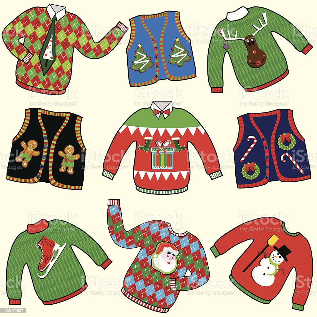 UGLY Christmas Sweaters Party Invitation Clipart vector art illustration