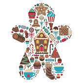 Christmas print with treats and desserts in gingerbread man shape. Xmas sweet celebration icing cakes, muffins, cupcakes, candy canes, cookies and drinks. Sweets for winter festive party.