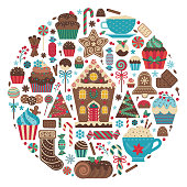 Christmas print with treats and desserts in circle shape. Xmas sweet celebration icing cakes, muffins, cupcakes, candy canes, gingerbread cookies and drinks. Sweets for winter festive party.