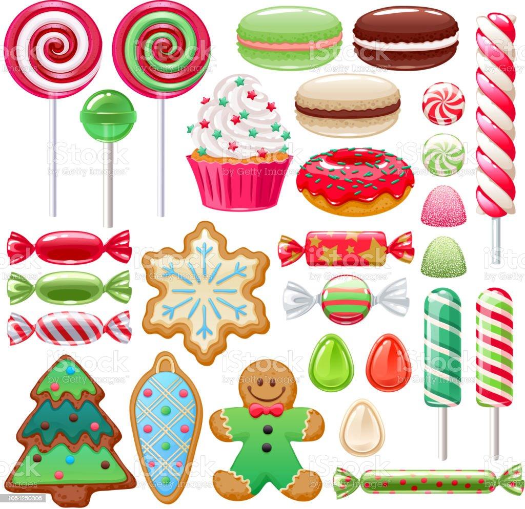 クリスマスのお菓子を設定します各種のキャンディーやクッキー お祝いのベクターアート素材や画像を多数ご用意 Istock