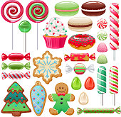 Colorful Christmas sweets set - hard candy, chocolate eggs, candy canes, jellies. Vector illustration. Assorted wrapped candies.
