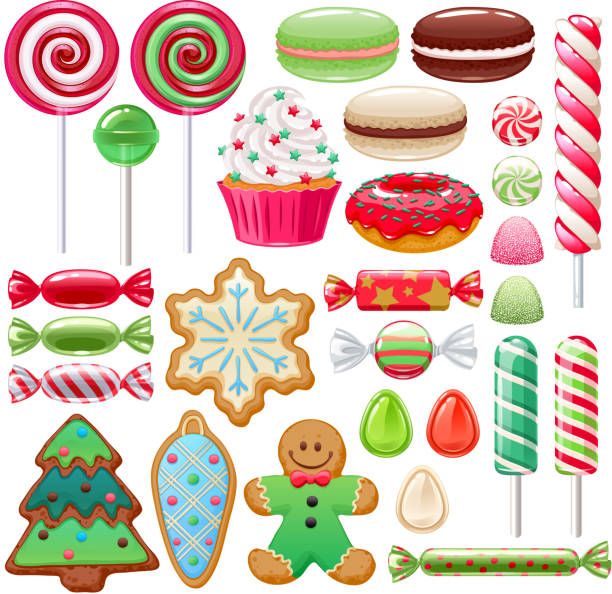 Christmas sweets set. Assorted candies and cookies. Colorful Christmas sweets set - hard candy, chocolate eggs, candy canes, jellies. Vector illustration. Assorted wrapped candies. candy stock illustrations
