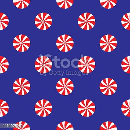 Vector seamless pattern of red and white swirl peppermint candies on a blue background.