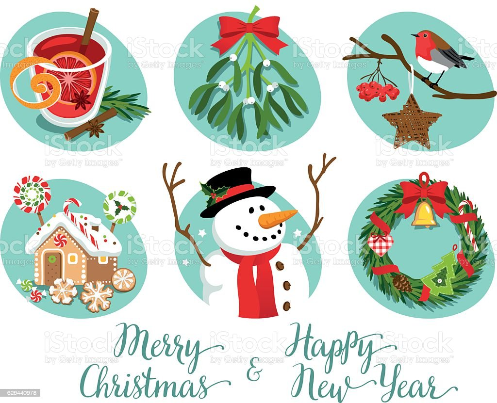 Christmas Symbols And Decorations Stock Illustration ...