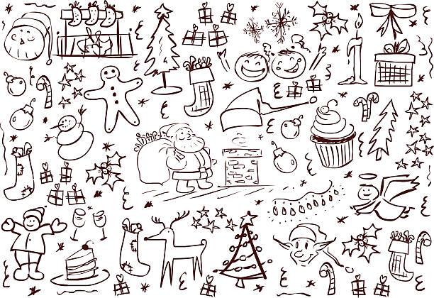 Christmas Symbols Doodles vector art illustration