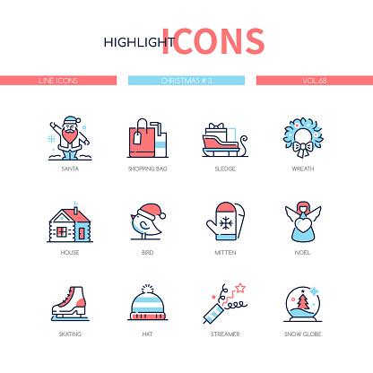 Christmas symbols - line design style icons set