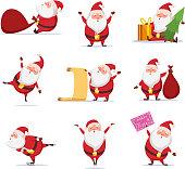 面白いかわいいサンタのクリスマスのシンボル。ダイナミックなポーズで別の文字を設定します。