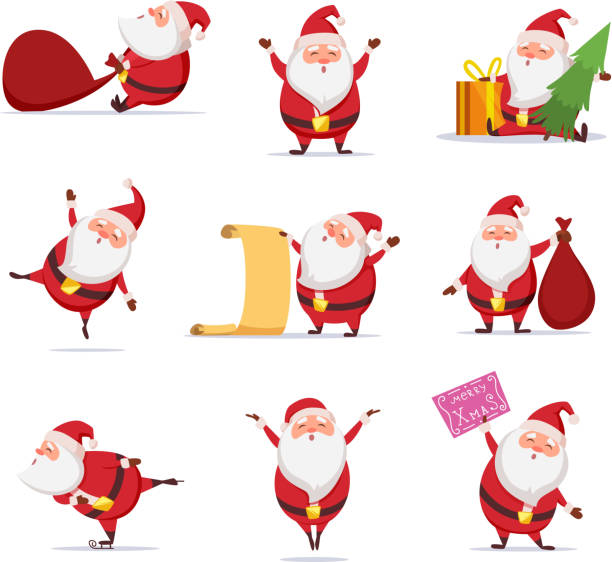 ilustrações de stock, clip art, desenhos animados e ícones de christmas symbols of funny cute santa. different characters set in dynamic poses - santa claus