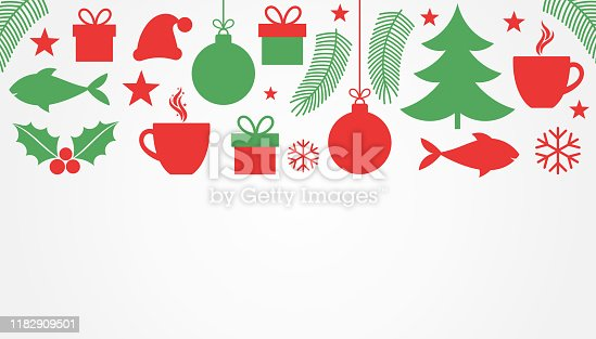 istock Christmas symbols, red and green background. 1182909501