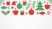Christmas symbols, red and green card background. Vector illustration.
