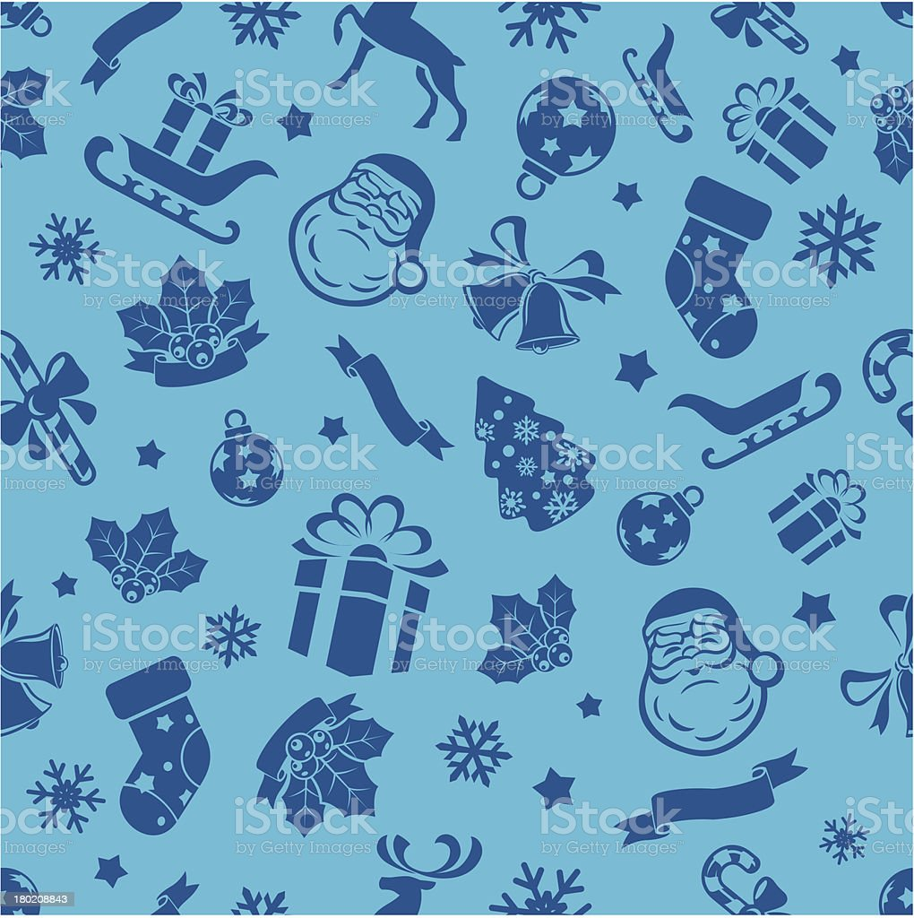 Christmas Symbols Seamless Background vector art illustration