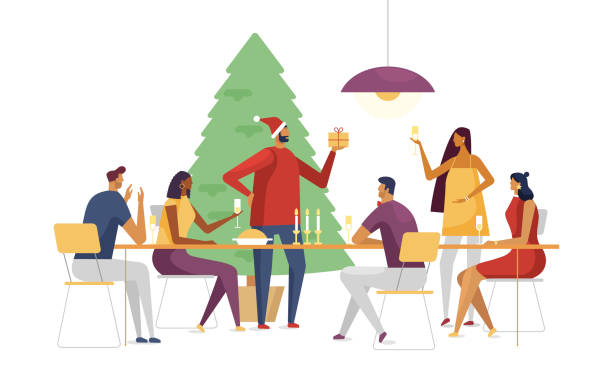 Christmas table with happy people. Vector illustration, flat design Christmas vector illustration on a white background. Happy friends celebrate at the same table. Template for your design. Merry Christmas and Happy new year. christmas family stock illustrations