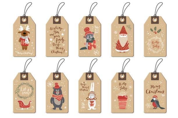 Christmas tags set, cartoon hand drawn style. Vector illustration. Christmas tags set, doodle hand drawn style. Vector illustration. label stock illustrations