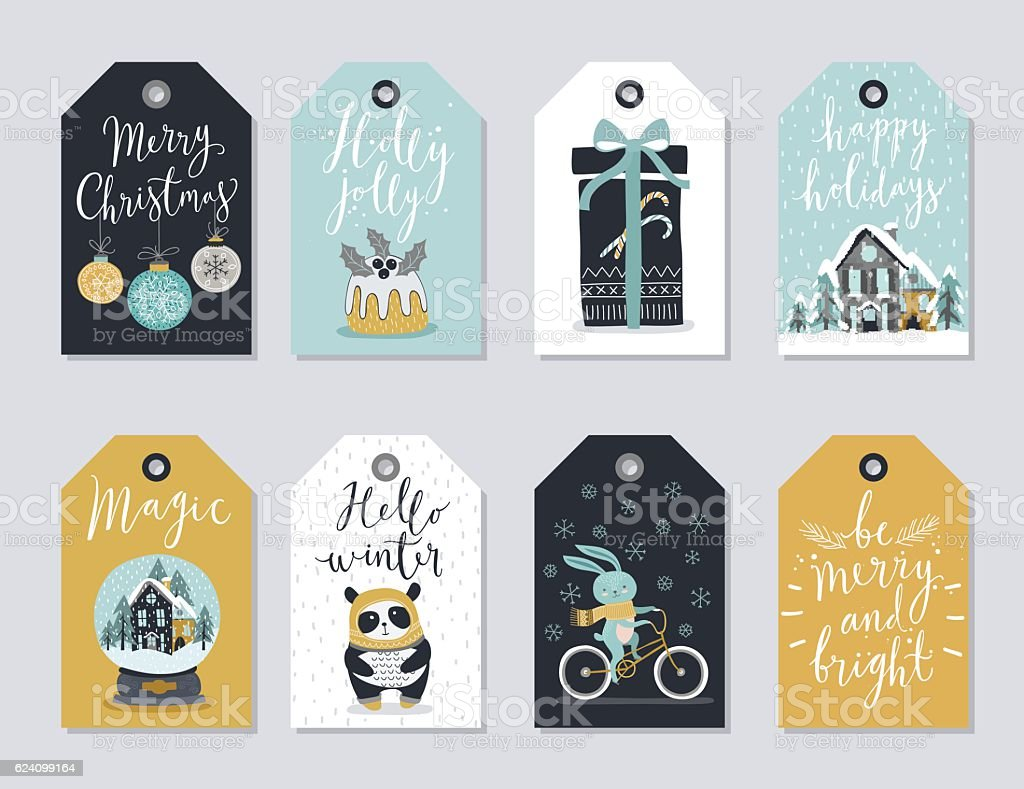 Christmas tags set, hand drawn style.向量藝術插圖