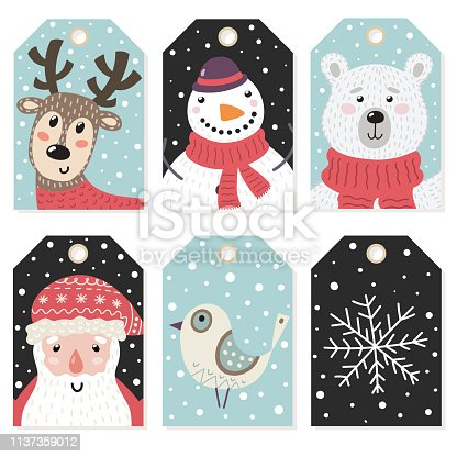 Christmas tags set with cute characters. Winter collection. Vector illustration
