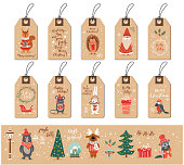 Christmas tags set with Santa, animals and Christmas elements, fox, hetchog, bird, mouse, squarrel, Christmas tree, snow, snowflakes, doodle hand drawn style Vector illustration