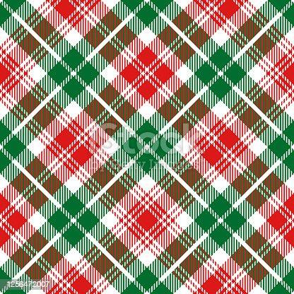 istock Christmas Tartan Plaid Diagonal Textile Pattern 1256472007