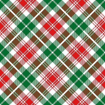 Christmas Tartan Plaid Diagonal Textile Pattern