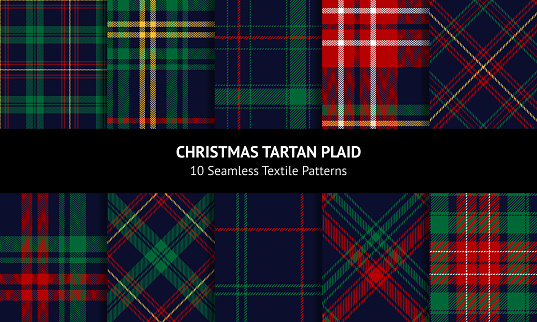 Christmas tartan plaid set. Blue, red, green, yellow dark textured decorative check plaid for flannel shirt, blanket, trousers, duvet cover, throw, or other New Year winter fashion textile print.