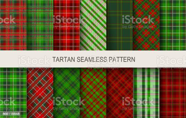 Christmas tartan seamless patterns in grin and red colors vector id866118848?b=1&k=6&m=866118848&s=612x612&h=4zt30doghvxybskq8oxur0iimzi6qrbgg3k1rlt3c1w=