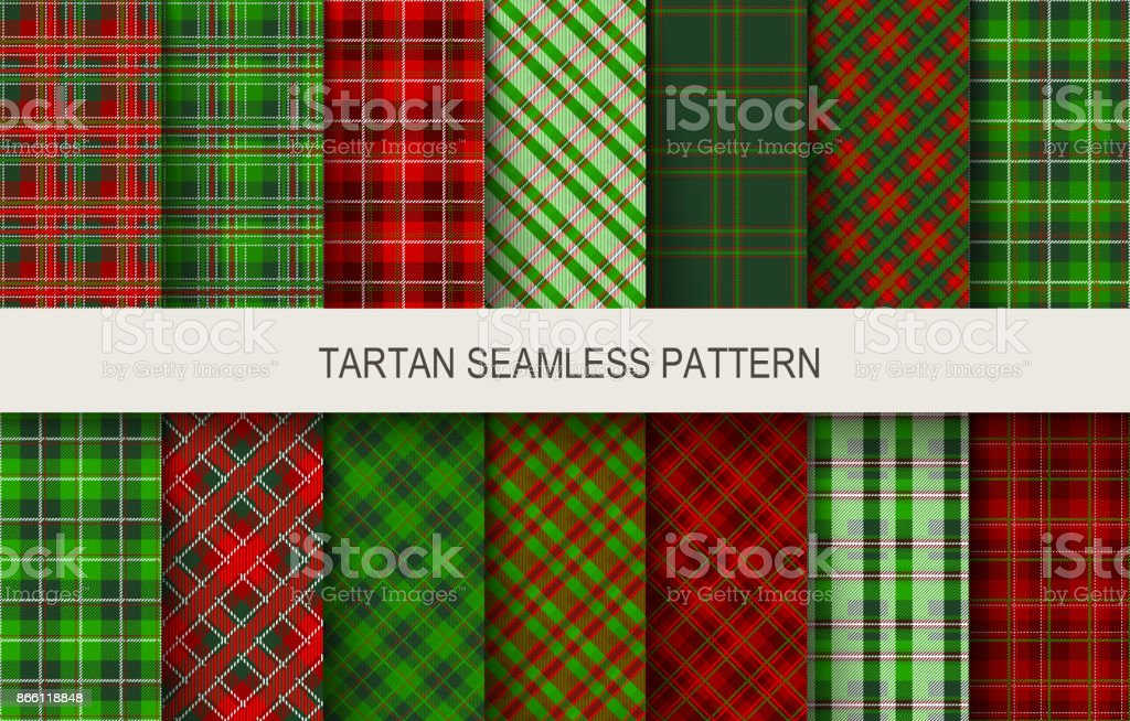 Christmas tartan seamless patterns in grin and red colors. vector art illustration