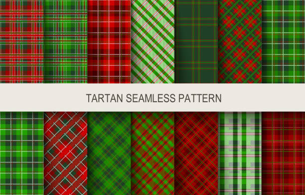 Christmas tartan seamless patterns in grin and red colors. Christmas tartan seamless patterns in grin and red colors. Vector illustration tartan pattern stock illustrations