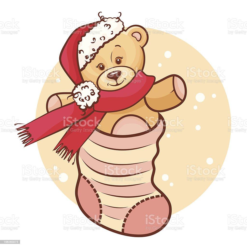 Weihnachten Baby Insocken Mit Teddybär Stock Vektor Art und mehr ...