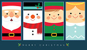 Cute santa claus, snowman, christmas elf and angel in flat design. Vector christmas character. Christmas greeting template design for label, tag, bookmark, card or print.