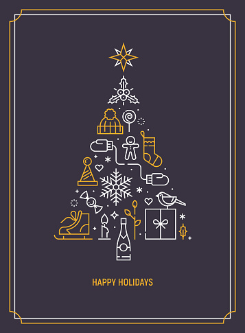 Christmas template for greeting card, banner or party invitation. Christmas tree consisting of xmas elements. Season greetings. Flat line art. Vector illustration.