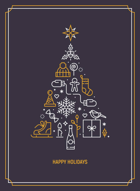 christmas template for greeting card, banner or party invitation. christmas tree consisting of xmas elements. season greetings. flat line art. vector illustration. - holiday icons stock illustrations, clip art, cartoons, & icons