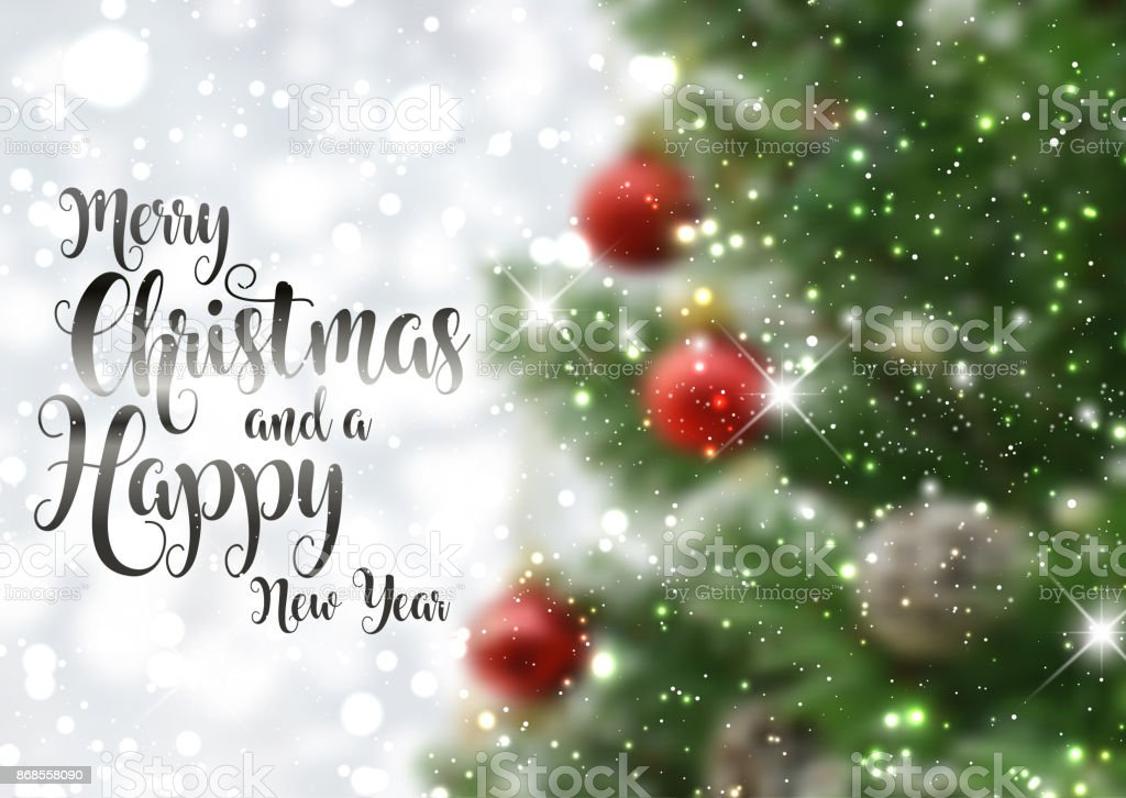 Christmas text background with defocussed tree image vector art illustration
