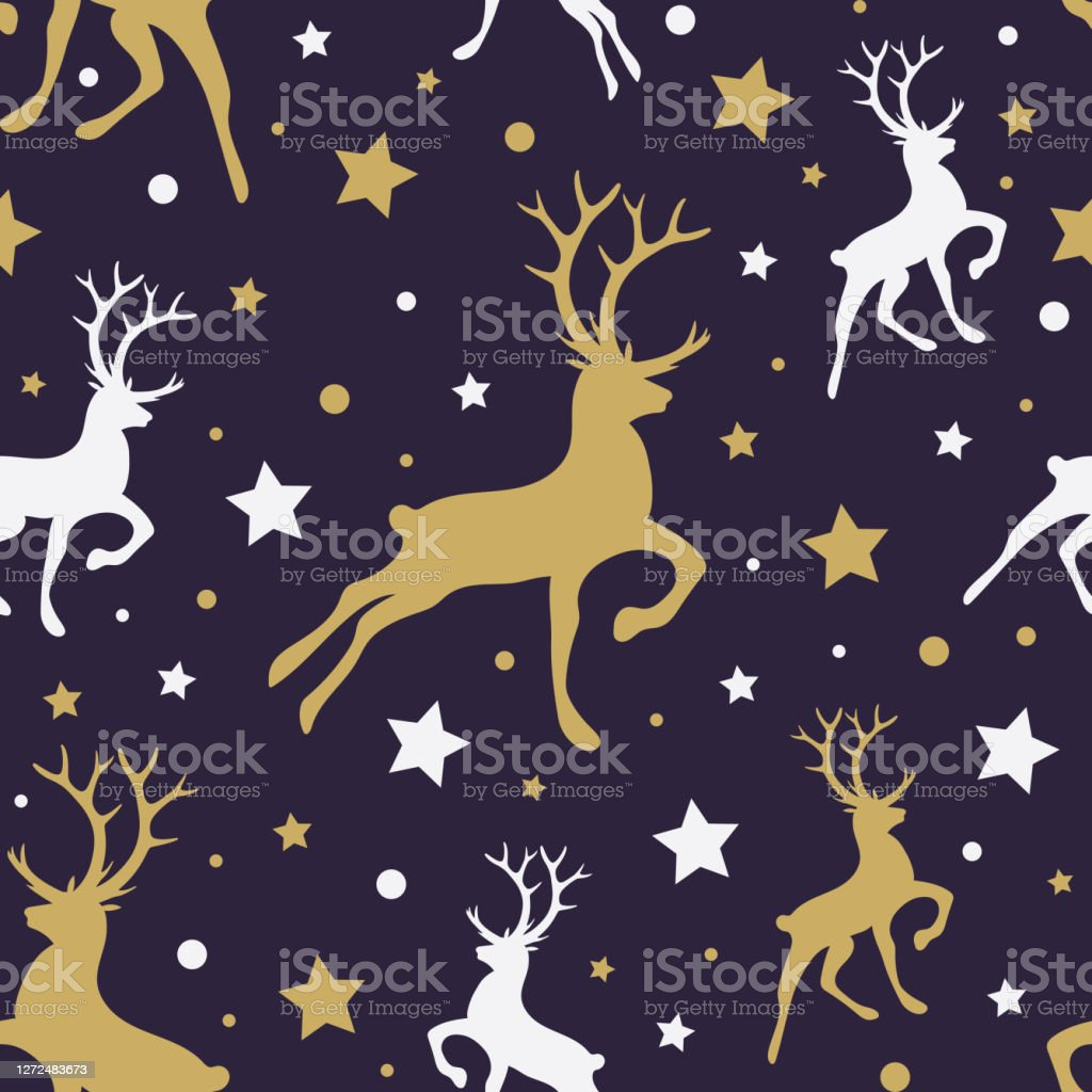 christmas texture with silhouettes of reindeers xmas wallpaper vector vector id1272483673