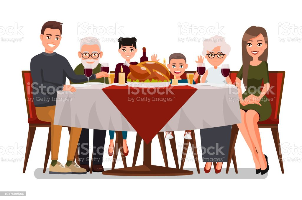 Christmas & Thanksgiving inspired Holiday card with happy family celebrating Thanksgiving day. Turkey at the table.Vector flat design family. Father, Mother, Daughter, Son, Grandmother and Grandfather - arte vettoriale royalty-free di Abbigliamento