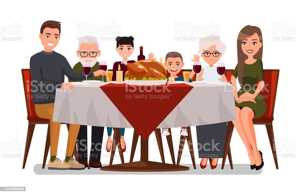 Ação de Graças e Natal inspirado cartão de férias com a família feliz, comemorando o dia de ação de Graças. Turquia na mesa. Família de design plano de vetor. Pai, mãe, filha, filho, avó e avô - ilustração de arte em vetor