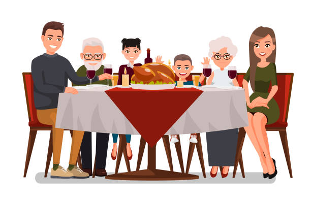 illustrazioni stock, clip art, cartoni animati e icone di tendenza di christmas & thanksgiving inspired holiday card with happy family celebrating thanksgiving day. turkey at the table.vector flat design family. father, mother, daughter, son, grandmother and grandfather - cena