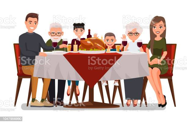 Christmas Thanksgiving Inspired Holiday Card With Happy Family Celebrating Thanksgiving Day Turkey At The Tablevector Flat Design Family Father Mother Daughter Son Grandmother And Grandfather - Immagini vettoriali stock e altre immagini di Abbigliamento