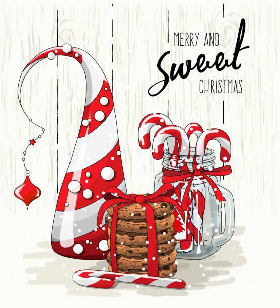 thema weihnachten, abstrakte weihnachtsbaum, stapel von cookies mit rotem band und zuckerstangen in glas, abbildung - weihnachtsschokolade stock-grafiken, -clipart, -cartoons und -symbole