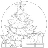 Christmas theme black and white poster with xmas tree, star, garland light and pile of presents.
