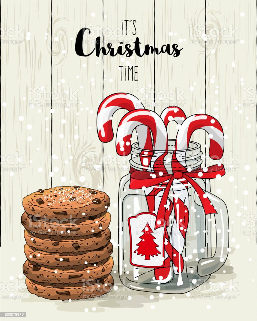 Christmas theme, candy canes in glass jar with red ribbon and stack of cookies, illustration vector art illustration