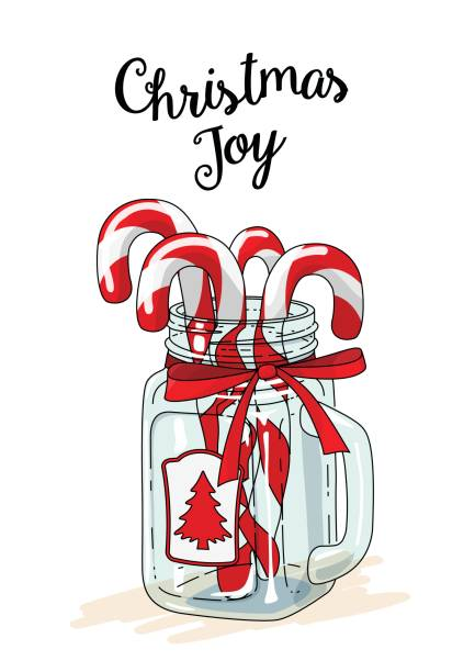 Christmas Theme Candy Canes In Glass Jar With Red Ribbon And Text Joy