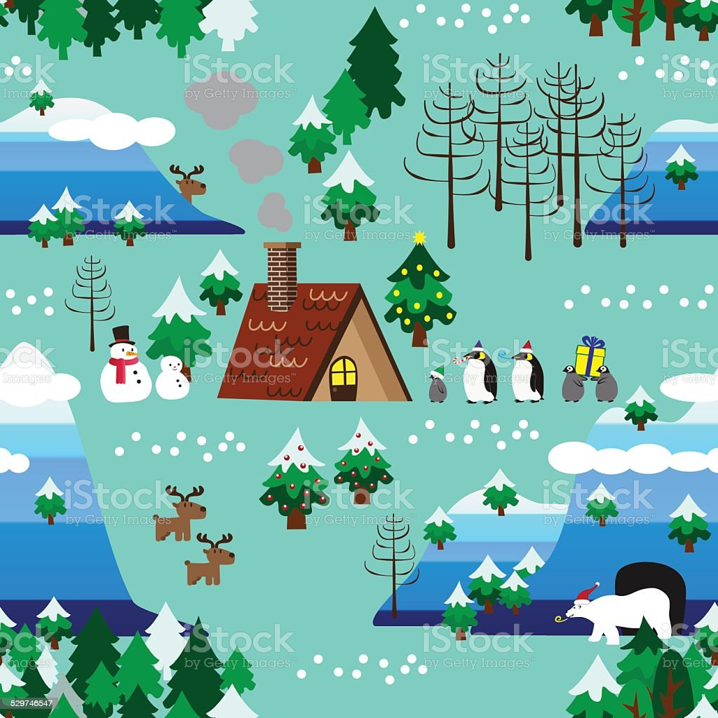 Christmas theme landscape seamless pattern close up vector art illustration