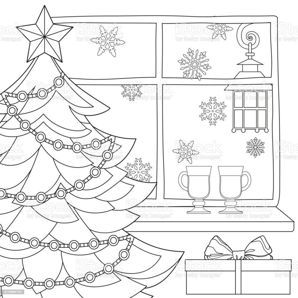 Christmas Theme Poster With Xmas Tree Star Garland Light Snowflakes Mulled Wine
