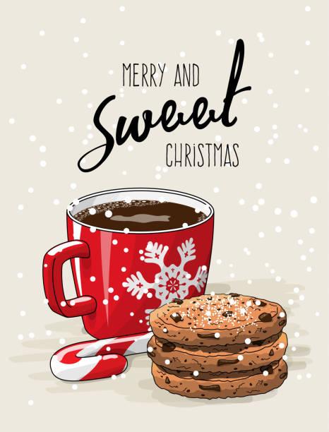 weihnachten thema, rote tasse kaffee mit rotem band und stapel von cookies eine zuckerstange, illustration - weihnachtsschokolade stock-grafiken, -clipart, -cartoons und -symbole