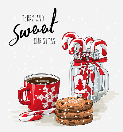 Christmas theme, red cup of coffee with red ribbon, stack of cookies and candy canes in glass jar, illustration