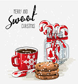 Christmas theme, Christmas theme, red cup of coffee with red ribbon, stack of cookies and candy canes in glass jar, with text Merry and sweet Christmas on bright background, vector illustration, eps 10 with transparency