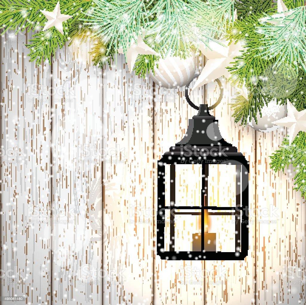 Christmas Theme Mit Schwarzem Laterne Auf Weissem Holzhintergrund
