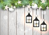 christmas theme with tree vintage black lanterns, green needles and white baubles on white wooden background, vector illustration, eps 10 with transparency and gradient meshes