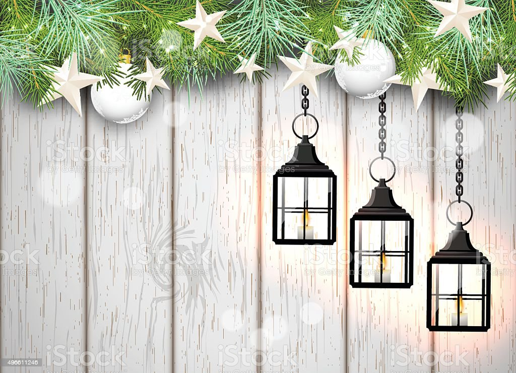 christmas theme with black lanterns on white wooden background, illustration vector art illustration