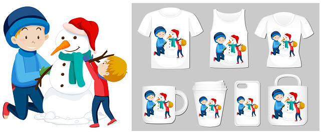 Christmas theme with boys and snowman on many products