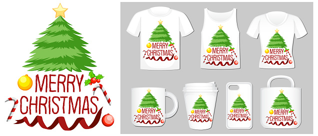 Christmas theme with christmas tree on many products